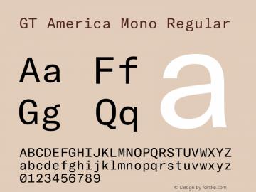 GT America Mono Regular Version 2.001;PS 002.001;hotconv 1.0.88;makeotf.lib2.5.64775 Font Sample