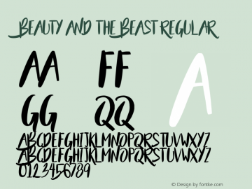 Beauty and the Beast Regular Version 1.000 Font Sample