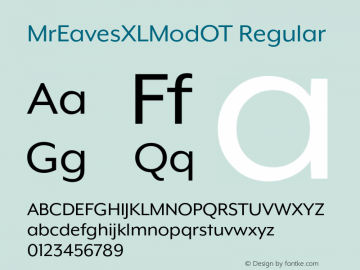 MrEavesXLModOT Regular Version 1.100;PS 001.100;hotconv 1.0.57;makeotf.lib2.0.21895图片样张