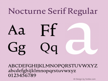 Nocturne Serif Regular Version 1.000;PS 001.000;hotconv 1.0.88;makeotf.lib2.5.64775 Font Sample