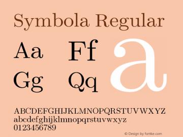Symbola Regular Version 7.02 Font Sample