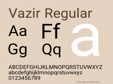 Vazir Regular Version 4.4.1 Font Sample