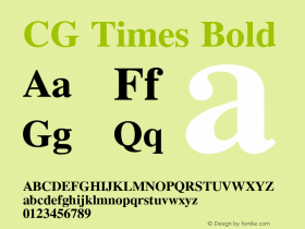 CG Times Bold Version 1.02a Font Sample