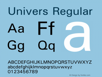 Univers Regular Version 1.02a Font Sample