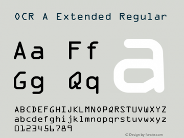 OCR A Extended Regular Version 1.75 Font Sample