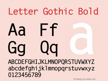 Letter Gothic Bold Version 1.02a Font Sample
