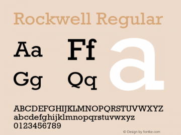 Rockwell Regular Version 1.60 Font Sample