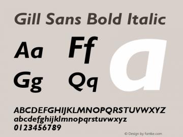Gill Sans Bold Italic Version 2.0 - Lotus - April 13, 1995 Font Sample
