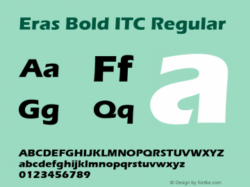 Eras Bold ITC Regular Version 1.00 Font Sample