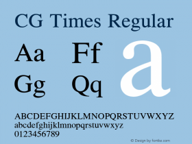 CG Times Regular Version 1.02a Font Sample