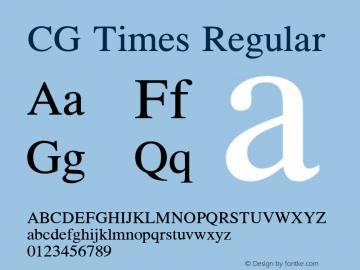 CG Times Regular Version 1.02a Font Sample