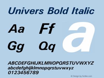 Univers Bold Italic Version 1.3 (Hewlett-Packard)图片样张