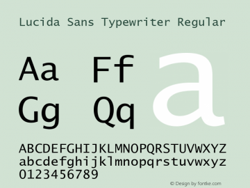 Lucida Sans Typewriter Regular Version 1.50 Font Sample