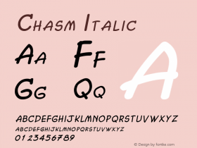 Chasm Italic Altsys Fontographer 4.1 2/2/95 Font Sample
