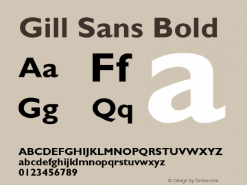 Gill Sans Bold Version 2.0 - Lotus - April 13, 1995 Font Sample