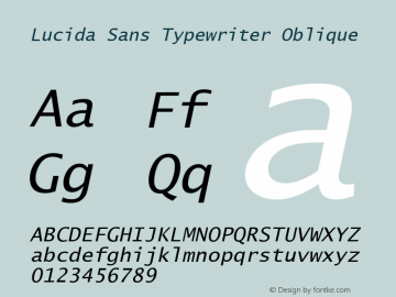 Lucida Sans Typewriter Oblique Version 1.50 Font Sample