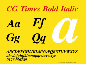 CG Times Bold Italic Version 1.02a Font Sample