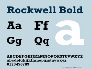 Rockwell Bold Version 2.0 - Lotus - April 13, 1995 Font Sample