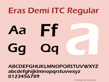 Eras Demi ITC Regular Version 1.00 Font Sample