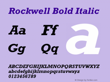 Rockwell Bold Italic Version 2.0 - Lotus - April 13, 1995 Font Sample