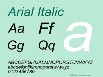 Arial Italic Version 6.82 Font Sample