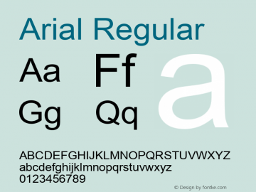 Arial Regular Version 6.84 Font Sample
