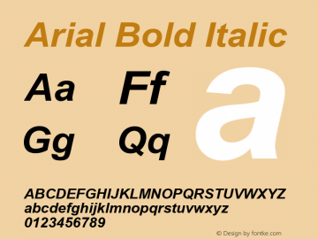 Arial Bold Italic Version 6.82 Font Sample