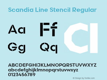 Scandia Line Stencil Regular Version 2.000;PS 1.0;hotconv 1.0.79;makeotf.lib2.5.61930 Font Sample