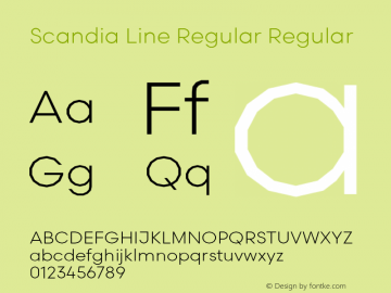 Scandia Line Regular Regular Version 2.000;PS 1.0;hotconv 1.0.79;makeotf.lib2.5.61930图片样张