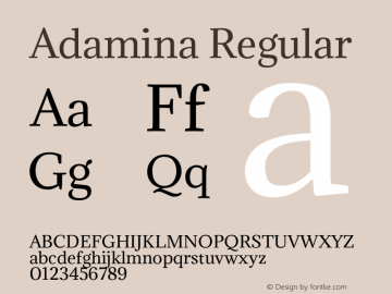 Adamina Regular Version 1.001 Font Sample