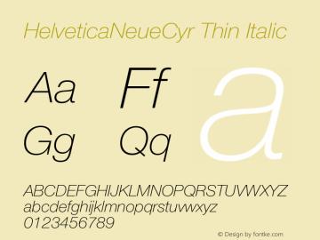 HelveticaNeueCyr Thin Italic 001.000图片样张