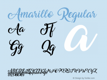 Amarillo Regular Version 1.000 by Francis Sudio Font Sample