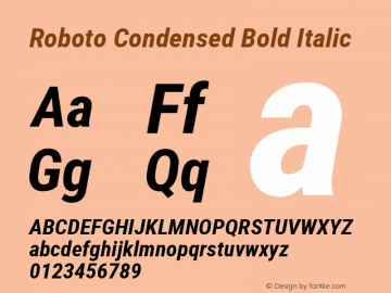 Roboto Condensed Bold Italic Version 2.000980; 2014 Font Sample