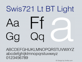 Swis721 Lt BT Light Version 1.01 emb4-OT Font Sample