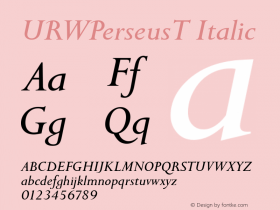 URWPerseusT Italic Version 001.005 Font Sample