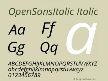 OpenSansItalic Italic Version 1.10 Font Sample