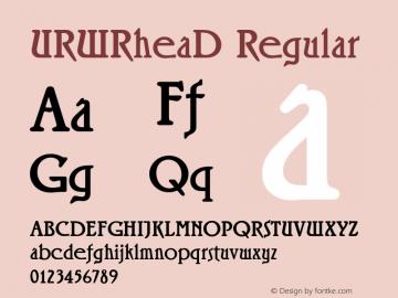 URWRheaD Regular Version 001.005 Font Sample