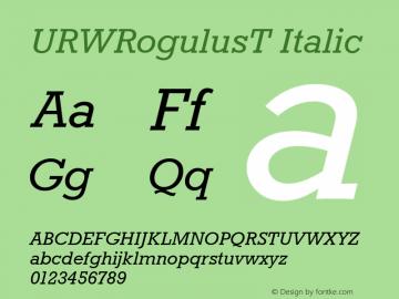 URWRogulusT Italic Version 001.005 Font Sample