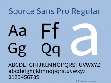 Source Sans Pro Regular Version 1.036;PS Version 1.000;hotconv 1.0.70;makeotf.lib2.5.5900 Font Sample