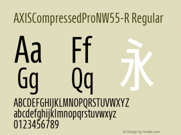 AXISCompressedProNW55-R Regular Version 1.00 Font Sample