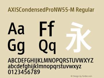 AXISCondensedProNW55-M Regular Version 1.00 Font Sample