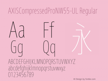 AXISCompressedProNW55-UL Regular Version 1.00 Font Sample