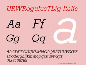 URWRogulusTLig Italic Version 001.005图片样张