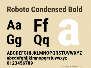 Roboto Condensed Bold Version 2.135; 2016 Font Sample