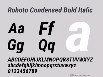 Roboto Condensed Bold Italic Version 2.135; 2016 Font Sample