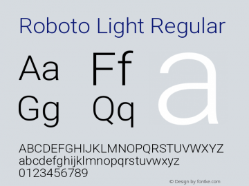 Roboto Light Regular Version 2.135; 2016图片样张