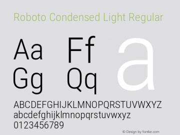 Roboto Condensed Light Regular Version 2.135; 2016图片样张