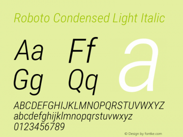 Roboto Condensed Light Italic Version 2.135; 2016图片样张