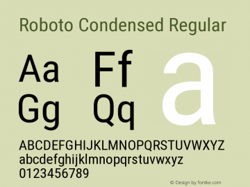 Roboto Condensed Regular Version 2.135 Font Sample