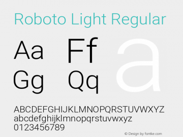 Roboto Light Regular Version 2.135图片样张
